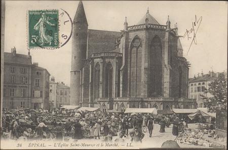 Épinal, L'Église Saint-Maurice et le Marché