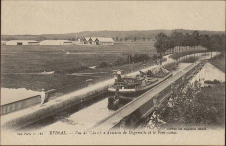 Épinal, Vue du Champ d'Aviation de Dogneville et le Pont-Canal