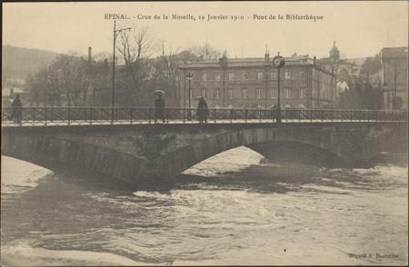 Épinal, Crue de la Moselle, 19 janvier 1910, Pont de la Bibliothèque