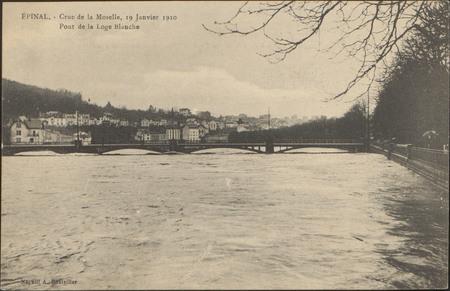 Épinal, Crue de la Moselle, 19 janvier 1910, Pont de la Loge Blanche