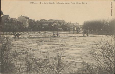 Épinal, Crue de la Moselle, 19 janvier 1910, Passerelle du Cours