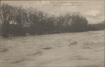 Crue de la Moselle, 24 Décembre 1919, Épinal, Promenade du Cours