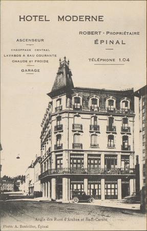 Hôtel Moderne, Épinal, Angle des Rues d'Arches et Sadi-Carnot […]