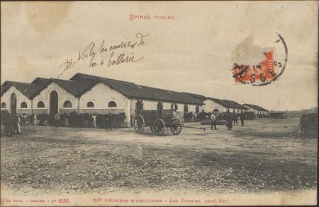 Épinal (Vosges), 62e Régiment d'Artillerie, les Ecuries, côté Est