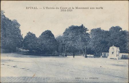 Épinal, L'Entrée du Cours et le Monument aux morts 1914-1918