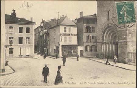 Épinal, Le Portique de l'Église et la Place Saint-Goëry