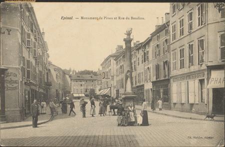 Épinal, Monument de Pinau et Rue du Boudiou