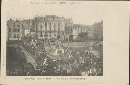 Cavalcade de Bienfaisance, Épinal, 15 Juin 1902, Char du Commerce, Char de…
