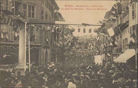 Épinal, Kermesse du 14 Avril 1912 au profit de l'Aviation, Pinau en aéropl…