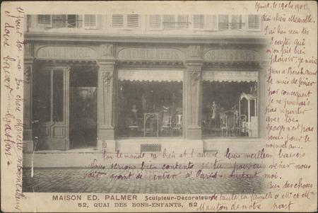 Maison Ed. Palmer sculpteur-décorateur, 52 quai des Bons-Enfants