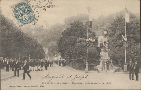 Sur le Quai de Juillet, Monument commémoratif de 1870