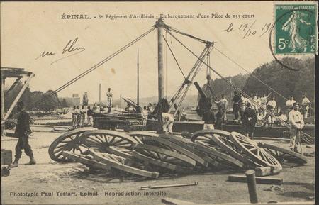 Épinal, 8e Régiment d'Artillerie, Embarquement d'une pièce de 155 court
