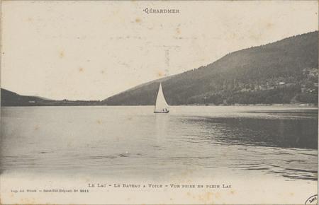 Gérardmer, Le Lac, Le Bateau à voile, Vue prise en plein lac