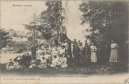 Tendon (Vosges), L'Amicale scolaire en excursion à la cascade
