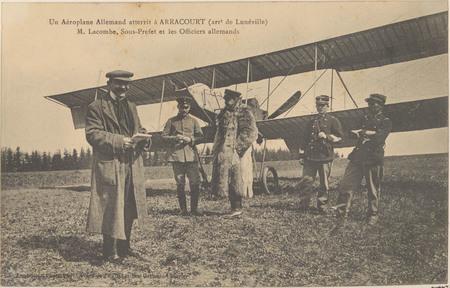 Un Aéroplane allemand atterrit à Arracourt (arrt de Lunéville), M. Lacombe…