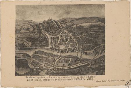 Tableau représentant une vue cavalière de la ville d'Épinal […]
