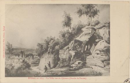 Épinal en 1834, La Ville vue du Château (Dessin de Pensée)