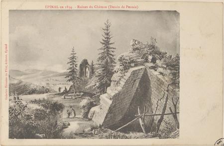 Épinal en 1834, Ruines du Château (Dessin de Pensée)