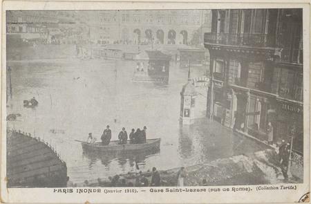 Paris inondé (janvier 1910), Gare Saint-Lazare (rue de Rome)