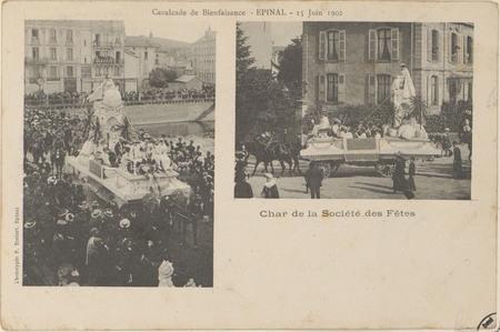 Cavalcade de bienfaisance, Épinal, 15 juin 1902, Char de la Société des Fê…