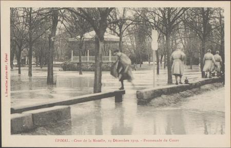 Épinal, Crue de la Moselle, 24 décembre 1919, Promenade du Cours
