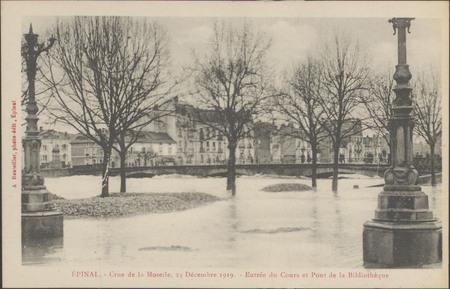 Épinal, Crue de la Moselle, 24 décembre 1919, Entrée du Cours et pont de l…