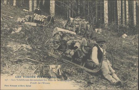 Les Schlitteurs descendant les bois de la montagne, Forêt de l'Urson