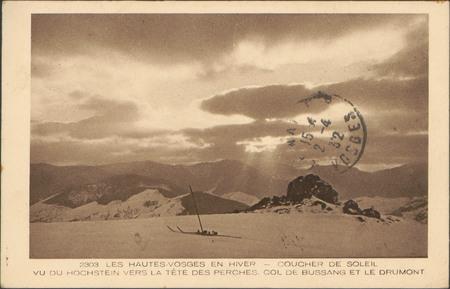 Coucher de soleil vu du Hochstein vers la tête des Perches, Col de Bussang…