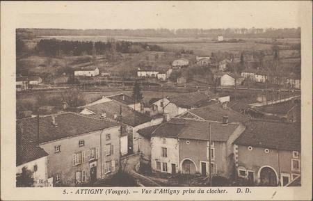 Attigny (Vosges), Vue d'Attigny prise du clocher