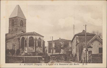 Attigny (Vosges), L'Église et le Monument aux Morts