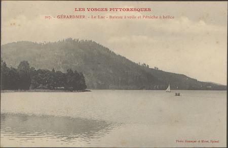 Gérardmer, Le Lac, Bateau à voile et péniche à hélice