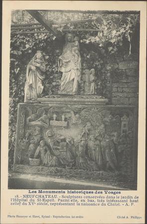 NeufChâteau , Sculptures conservées dans le jardin de l'hôpital du St-Espr…