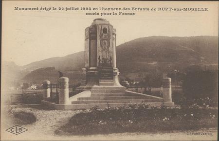 Monument érigé le 22 juillet 1923 en l'honneur des Enfants de Rupt-sur-Mos…