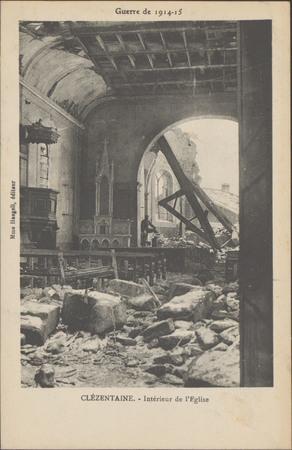 Guerre de 1914-15, Clézentaine, Intérieur de l'Église