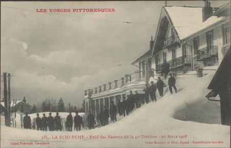 La Schlucht, Raid des skieurs de la 41e division - 20 Mars 1908