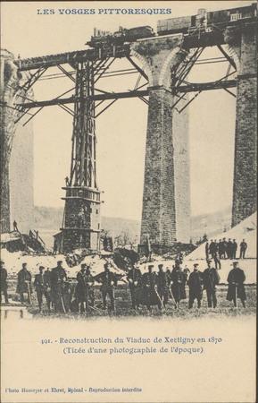 Reconstruction du viaduc de Xertigny en 1870 (tirée d'une photographie de …