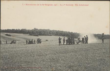 Manœuvres de la 82e Brigade, 1905, La 1re Batterie, Tir échelonné
