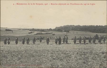 Manœuvres de la 82e Brigade, 1905, Marche déployée en tirailleurs du 149e …