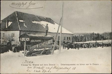 Umzug im Winter auf dem Donon, Déménagement en hiver sur le Donon