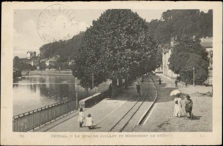 Épinal, Le Quai de Juillet et Monument de 1870-71