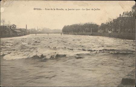 Épinal, Crue de la Moselle, 19 janvier 1910, Le Quai de Juillet
