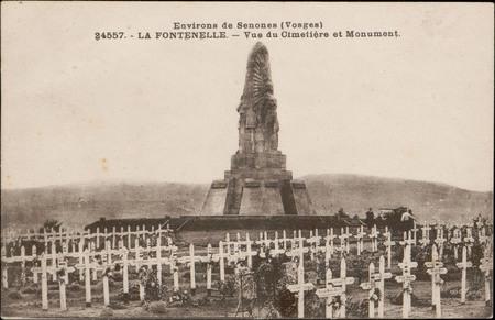 Environs de Senones (Vosges), La Fontenelle, Vue du cimetière et monument