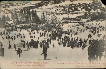 Les Sports d'hiver, Concours de ski, la Foule va voir le sauteur norvégien…