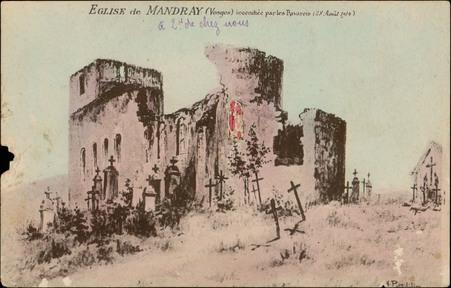 Église de Mandray (Vosges) incendiée par les Bavarois (28 Août 1914)
