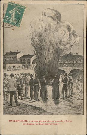 Mattaincourt, La bure allumée chaque année le 7 Juillet en l'honneur de Sa…