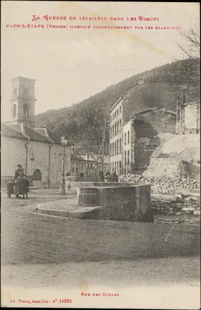 Raon-L'Etape (Vosges) incendié volontairement par les Allemands, Rue des É…