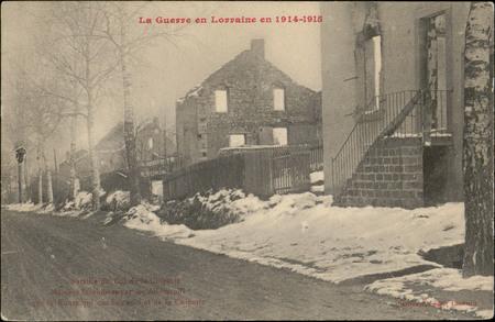 Bataille du Col de la Chipotte, Maison incendiées par les Allemands sur la…