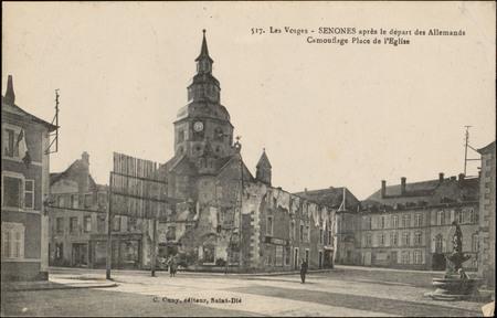 Senones après le départ des Allemands, Camouflage Place de l'Église