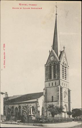 Vittel (Vosges), Église et square Bouloumié