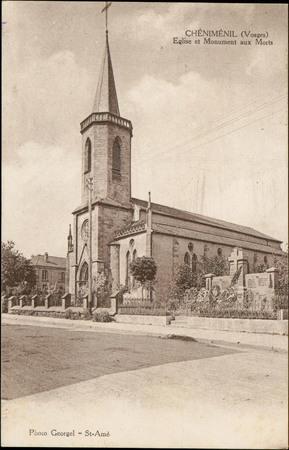 Chéniménil (Vosges), Eglis et Monument aux Morts